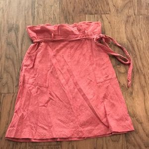 Salmon cinch waist pencil skirt. Super flattering